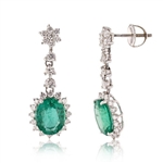 PLATINUM EMERALD AND DIAMOND DANGLE EARRINGS 5.97 C.T.W.