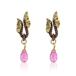 STERLING SILVER WITH GOLD FINISH TOURMALINE, RUBY AND DIAMOND DANGLE EARRINGS 2.52 C.T.W.