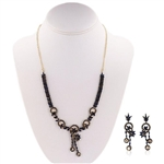 STERLING SILVER WITH GOLD FINISH SAPPHIRE AND DIAMOND EARRINGS AND NECKLACE SET 7.94 C.T.W.
