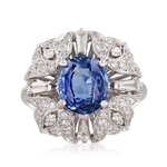 18K BLUE SAPPHIRE AND DIAMOND RING 3.18 C.T.W.