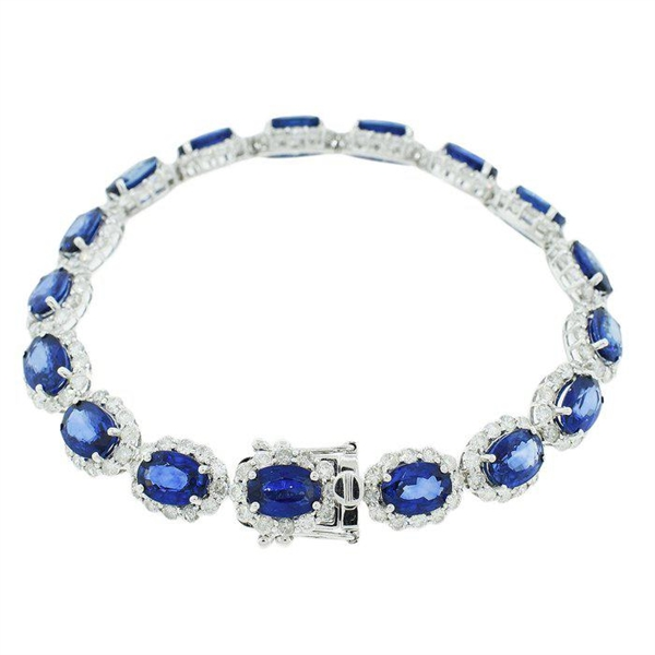 14K BLUE SAPPHIRE AND DIAMOND BRACELET 21.63 C.T.W.