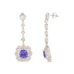 14K TANZANITE AND DIAMOND DANGLING EARRINGS 10.57 C.T.W.