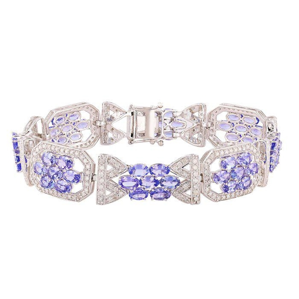 14K TANZANITE AND DIAMOND BRACELET 14.31 C.T.W.