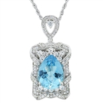 STERLING SILVER BLUE TOPAZ AND WHITE SAPPHIRE PENDANT WITH CHAIN 12.20 C.T.W.