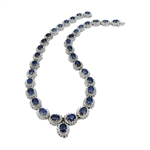 14K BLUE SAPPHIRE AND DIAMOND NECKLACE 40.47 C.T.W.