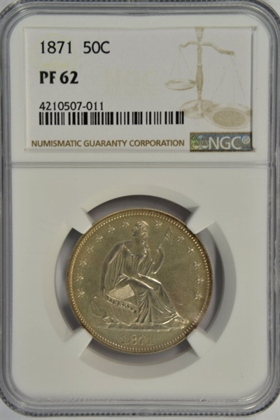 SIMPLY AWESOME-LOOKING CHOICE PROOF 1871 SEATED LIBERTY HALF DOLLAR. NGC PF62