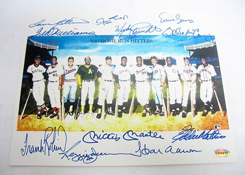HAND SIGNED 500 HOME RUN CLUB 8x10 WITH 11 SIGNATURES, ESTATE ITEM