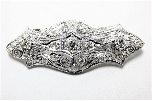 VINTAGE 2.80 CT DIAMOND PLATINUM FILIGREE BROOCH