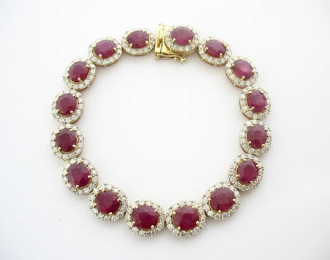 14K RUBY AND DIAMOND BRACELET 26.71 C.T.W.