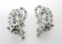 1 C.T.W. GARNET AND SAPPHIRE STERLING SILVER PANTHER EARRINGS