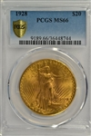 SIMPLY SENSATIONAL PCGS MS66 GRADED 1928 ST. GAUDENS $20 GOLD PIECE
