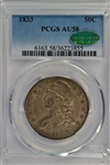 EYE-APPEALING 1833 CAPPED BUST HALF DOLLAR. PCGS AU58 CAC STICKER