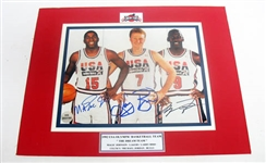 HAND SIGNED, JORDAN, JOHNSON, & BIRD 8X10 IN MATTED DISPLAY