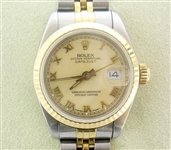 ROLEX LADIES 18K & STAINLESS QUICKSET DATEJUST