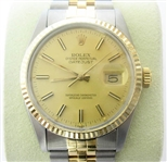 ROLEX MENS 18K AND STAINLESS QUICKSET DATEJUST
