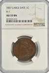 NEAR MINT KEY DATE 1857 (LARGE DATE) BRAIDED HAIR LARGE CENT. NGC AU55 BN