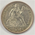 BETTER DATE NEAR BU 1874 WITH ARROWS LIBERTY SEATED DIME
