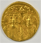 VERY CHOICE BU BYZANTINE EMPIRE GOLD SOLIDUS OF CONSTANS II, 641-668 AD
