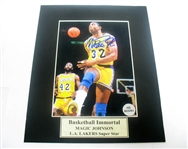 HAND SIGNED MAGIC JOHNSON 5X7 IN A MATTED 8X10 DISPLAY