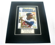 HAND SIGNED HANK AARON 4X5 IN A MATTED 8X10 DISPLAY