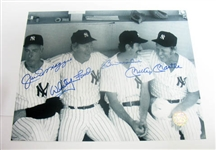 HAND SIGNED MANTLE, FORD, DIMAGGIO, AND MARTIN 8X10, GFA