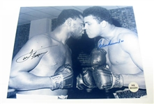 HAND SIGNED MUHAMMAD ALI AND JOE FRAZIER 8X10