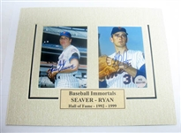 HAND SIGNED RYAN AND SEAVER 3X5 PHOTOS IN A 8X10 MATTED DISPLAY