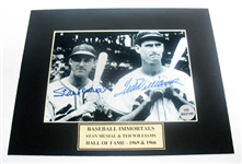 HAND SIGNED WILLIAMS AND MUSIAL 5X7 IN A 8X10 MATTED DISPLAY