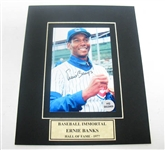 HAND SIGNED ERNIE BANKS 4X6 IN A 8X10 MATTED DISPLAY
