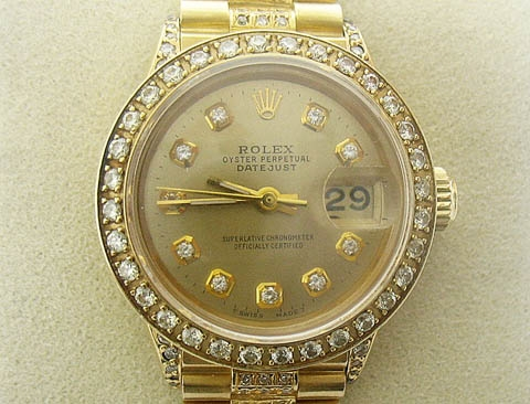 ROLEX LADIES 18K PRESIDENT WITH DIAMOND DIAL, BEZEL, LUGS, AND BAND