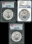 THREE (3) MS70 GRADED 2017, 2018, & 2019 $1 SILVER EAGLES. PCGS & NGC