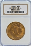 OUTSTANDING NGC MS66 GRADED 1908 NO MOTTO ST. GAUDENS $20 GOLD PIECE