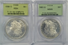 OLD PCGS GREEN LABEL 1880-S (MS64) & 1881-S (MS65) MORGAN SILVER DOLLARS. REAL NICE COINS