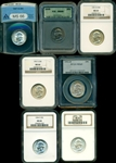 GREAT RUN OF 7 DIFFERENT CERTIFIED GEM BU WASHINGTON QUARTERS IN MOSTLY MS66 HOLDERS