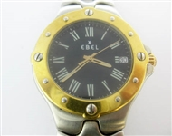EBEL MENS 18K AND STAINLESS SPORTWAVE WATCH