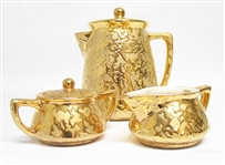 5 PIECE 24K MCCOY WEEPING GOLD COFFEE SET