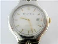 TIFFANY & CO. MENS TESORO 18K AND STAINLESS WATCH