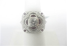 PLATINUM DIAMOND AND RUBY RING 2.95 C.T.W.