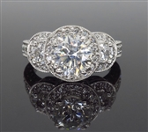 18K CERTIFIED 2.45 C.T.W. TRIPLE HALO DIAMOND RING