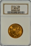 SUPERB GEM BU 1915 $10 INDIAN GOLD PIECE. NGC MS65