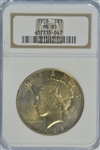 THE RARE 1928-P PEACE SILVER DOLLAR IN CHOICE BU. NGC MS63