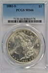 REMARKABLE PCGS MS66 GRADED 1881-S MORGAN SILVER DOLLAR