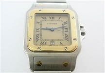 CARTIER MENS 18K AND STAINLESS SANTOS WATCH