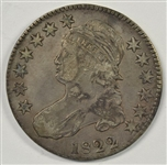 SCARCE BOLDLY-DEFINED 1822 CAPPED BUST HALF DOLLAR