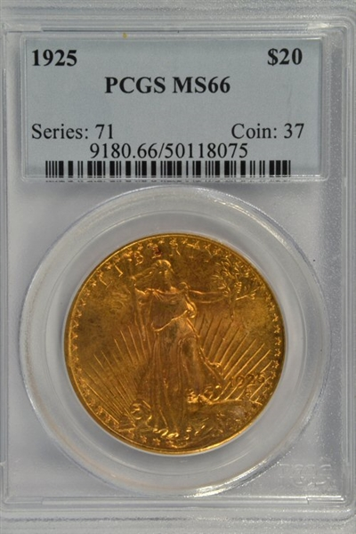 GORGEOUS SCARCE PCGS MS66 GRADED 1925 ST. GAUDENS $20 GOLD PIECE