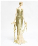 HAND PAINTED STONE LADY STATUE