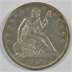 WELL STRUCK AND BRILLIANT 1874 WITH ARROWS LIBERTY SEATED HALF DOLLAR. AU