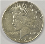 WELL STRUCK AND BRILLIANT 1934-S PEACE SILVER DOLLAR. AU