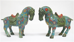 PAIR OF BRONZE CLOISONNE HORSES