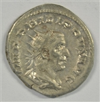 MUCH SCARCER NEAR MINT PHILIP I ROMAN SILVER ANTONINIANUS, 244-249 AD. SAECULAR GAMES COLUMN ON REVERSE